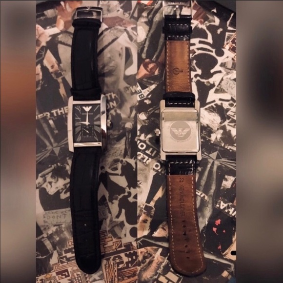 Emporio Armani Other - Emporio Armani Stainless Steel & Leather Watch